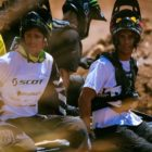 Brendan Fairclough and Adolf Silva taking the shuttle to the top of the course
