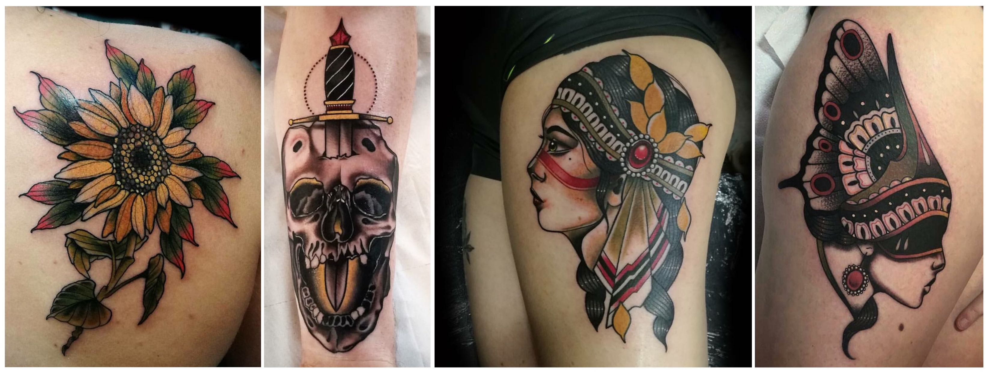 A selection of tattoo by Phil Wells
