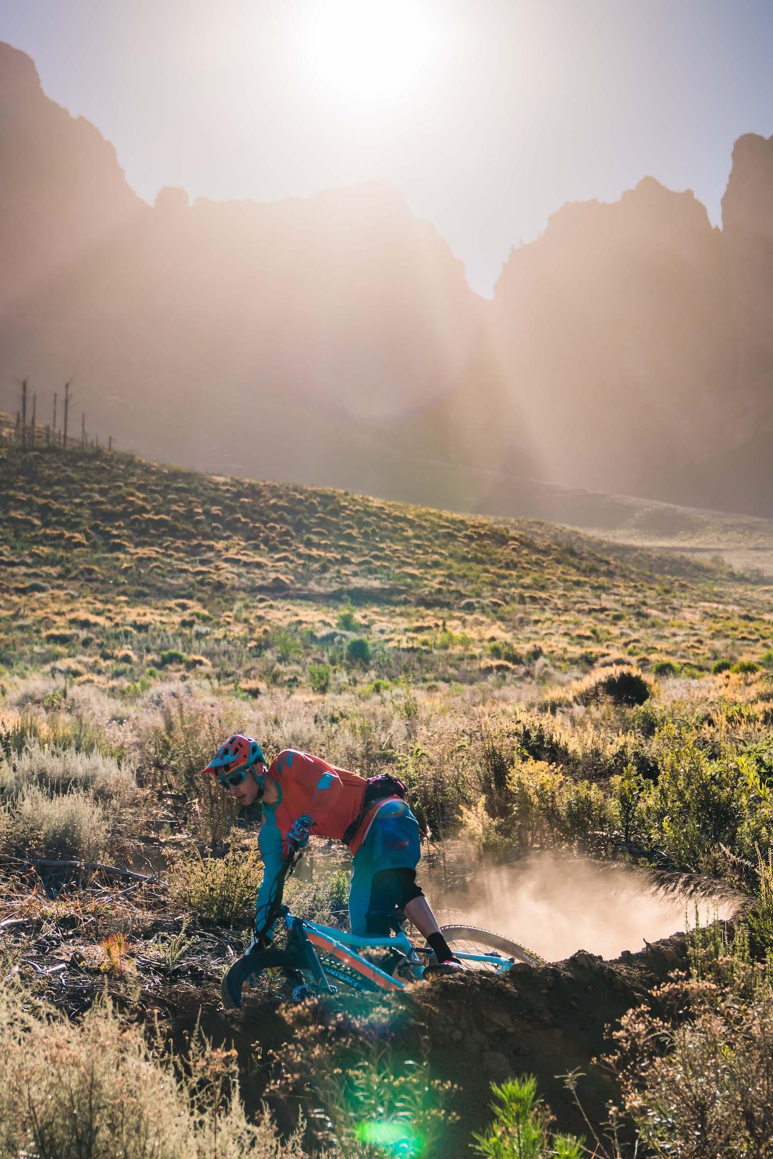Martin Zietsman riding the new Knolly Fugitive Enduro Mountain Bike