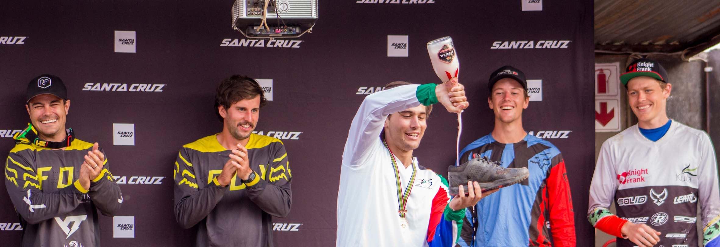 Theo Erlangsen celebrating his 2018 SA Downhill MTB Championships win