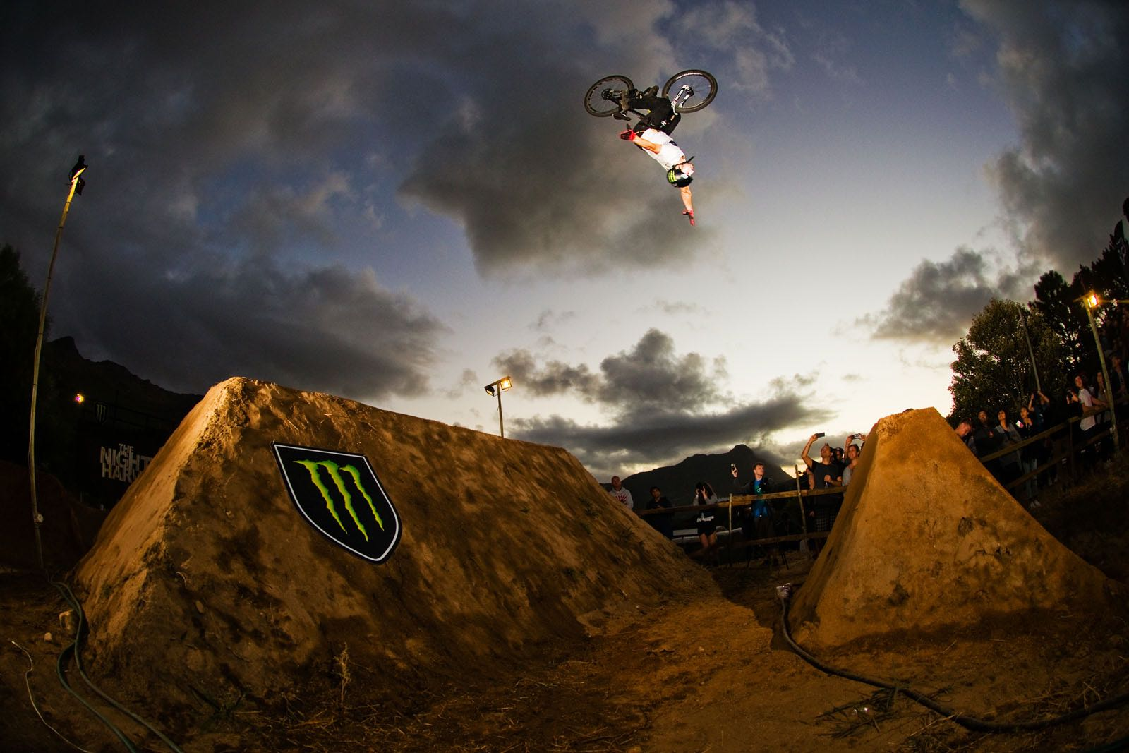 Freestyle Mountain Bike riders competing at The Night Harvest BMX and MTB Dirt Jump competition