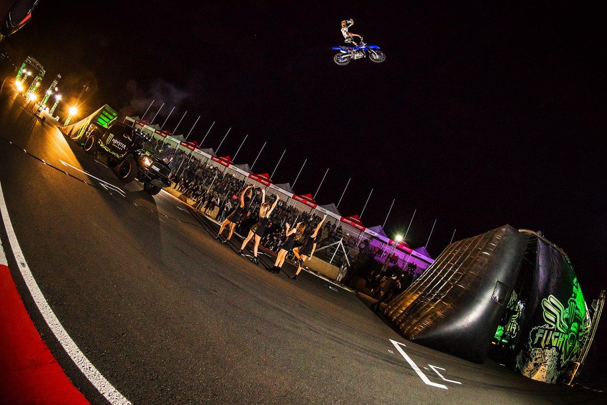 Alastair Sayer durning the Monster Energy Flight Night Freestyle Motocross Demo