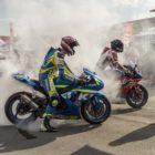 Superbike burnouts after racing at the 2018 Bike Fest