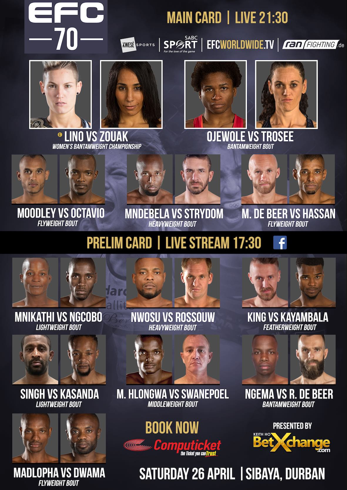 Mixed Martial Arts action coming to Durban with 12 exciting fights at EFC 70