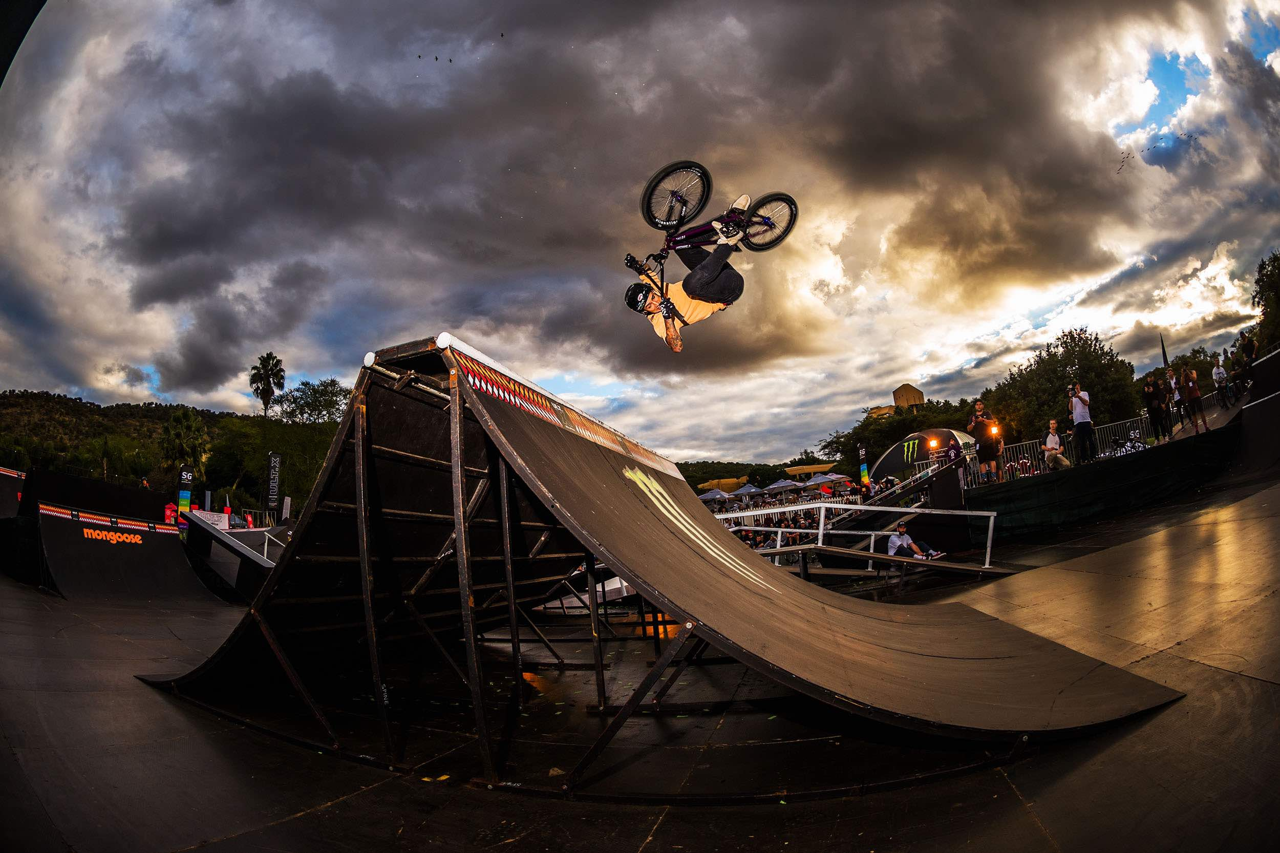 Kyle Baldock competing in the BMX contest at ULT.X 2018
