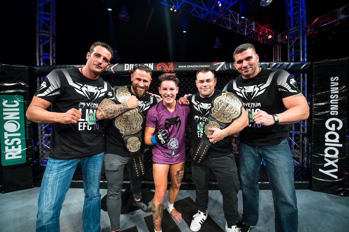 Amanda Lino claim victory at EFC 70 to claim the Women's Bantamweight Title