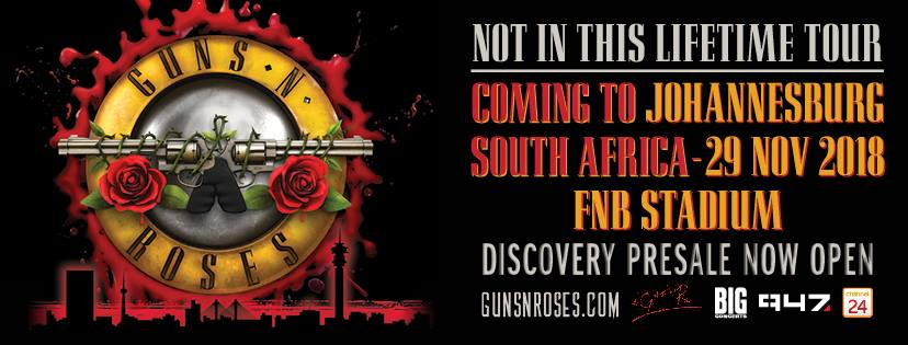 Ticketing details for the Guns N' Roses Not In This Lifetime Tour to South Africa