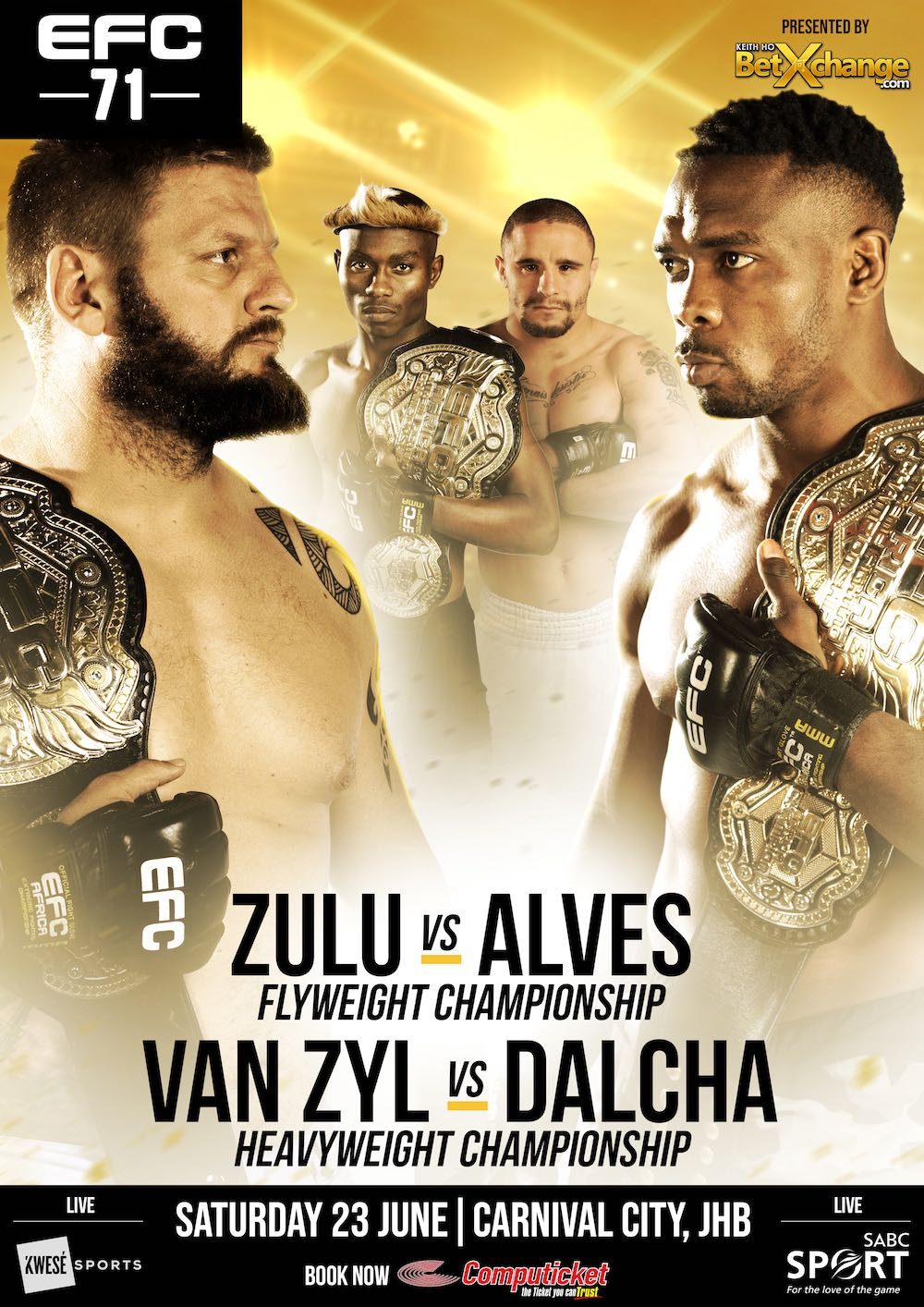 See the full MMA fight card for EFC 71 taking place at Carnival City