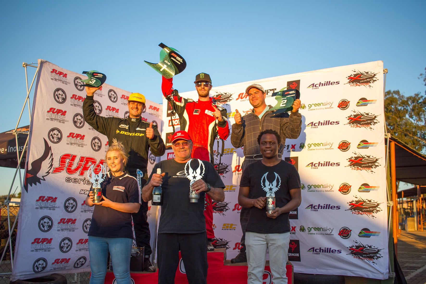 Podium from round 2 of the 2018 Supadrift Series