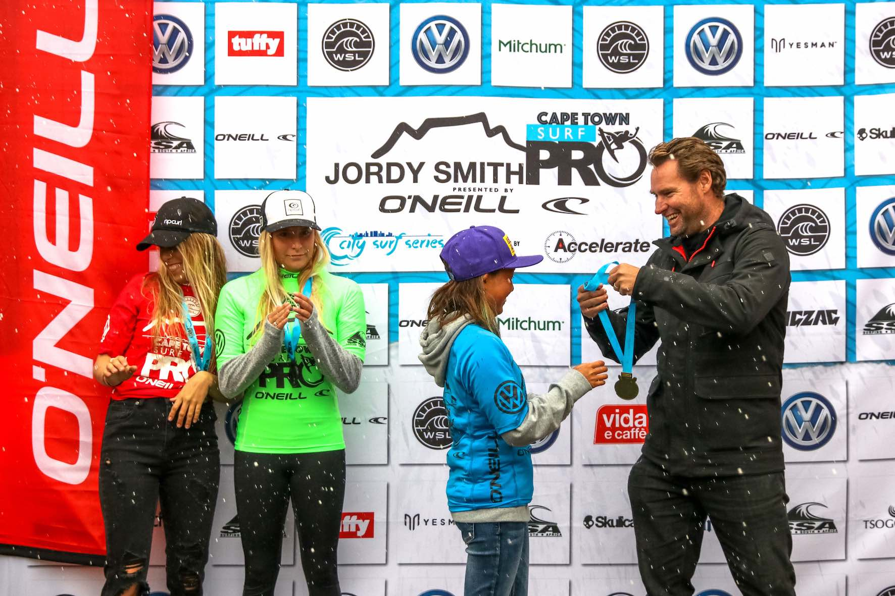 Jordy Smith Cape Town Surf Pro Women's Podium