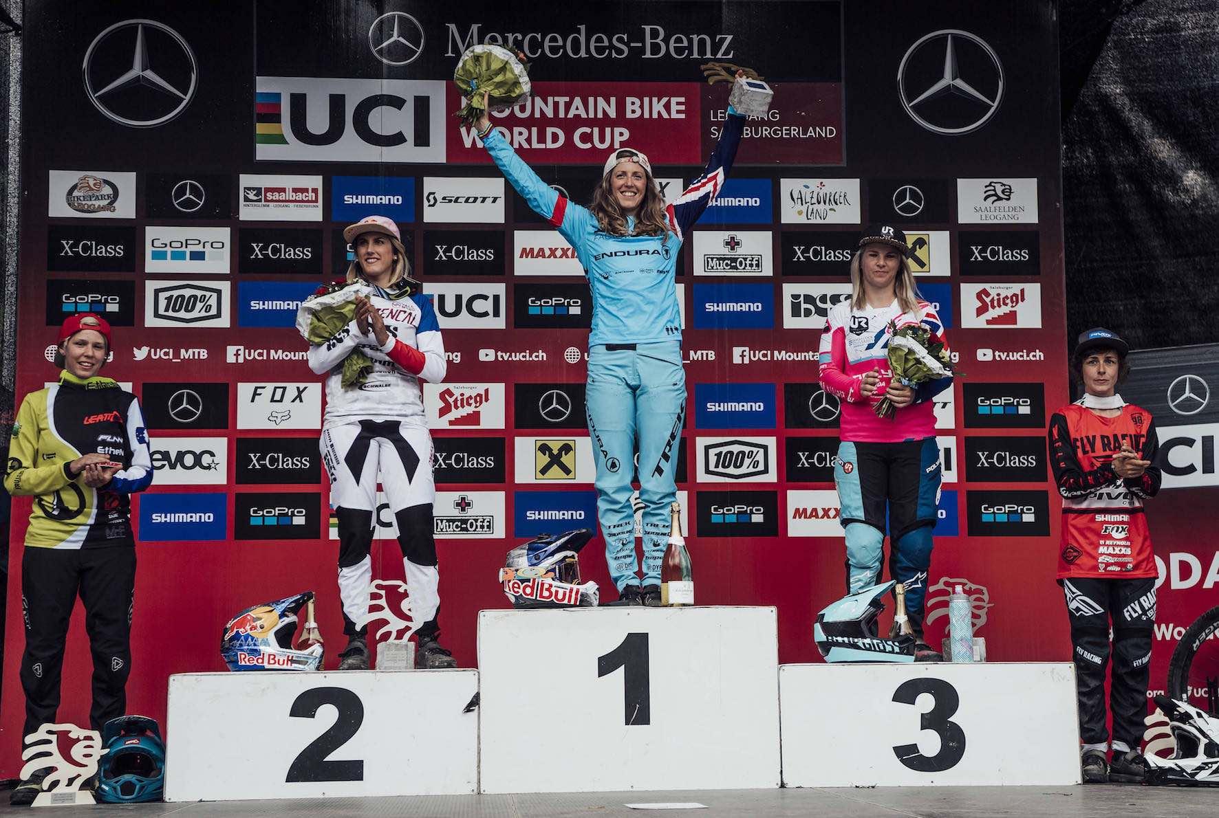 The 2018 Leogang, Austria Downhill MTB World Cup Women's podium