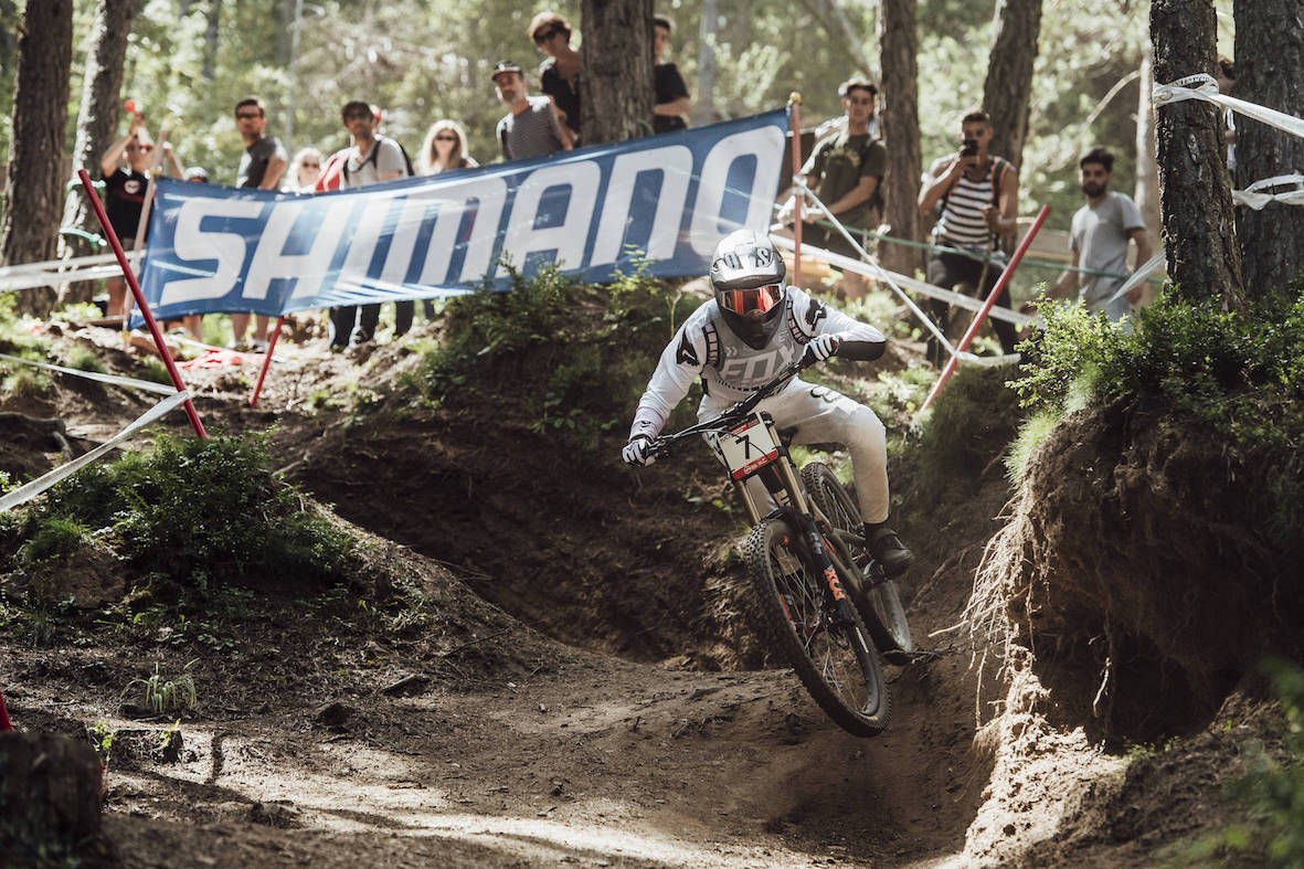 Loris Vergier racing his way to victory at the 2018 Downhill MTB World Cup in Andorra