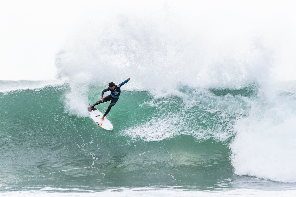 Kanoa Igarashi surfing in the 2018 Corona Open J-Bay