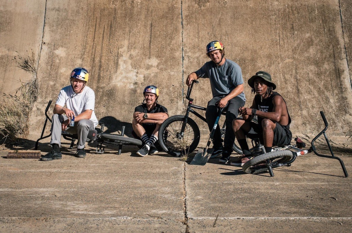 BMX riders Murray Loubser, Kenneth Tencio, Nathi Nkosi and Eric Garbers on tour through South Africa