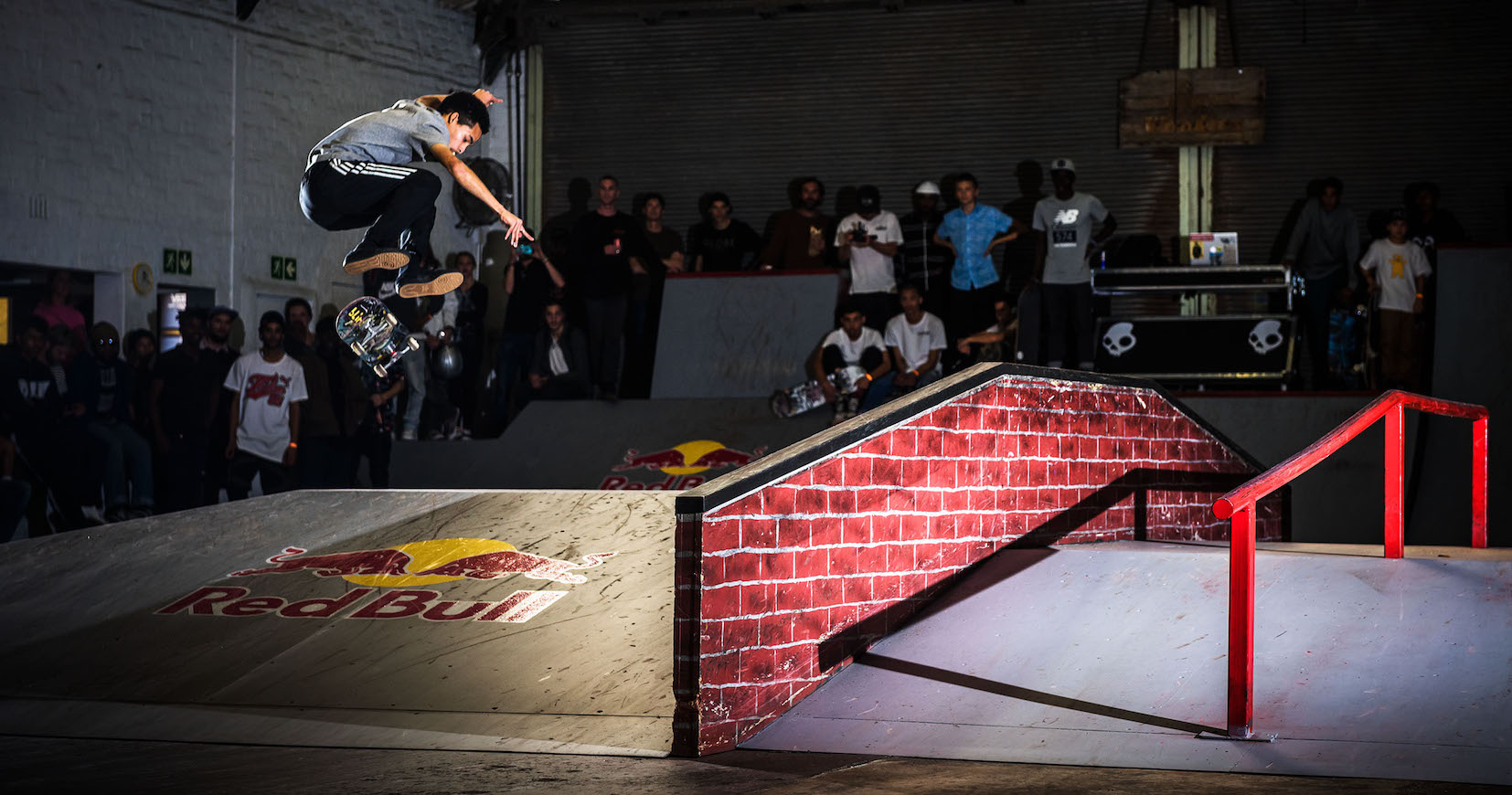 Allan Adams taking 1st at the Winter Jam skateboarding contest