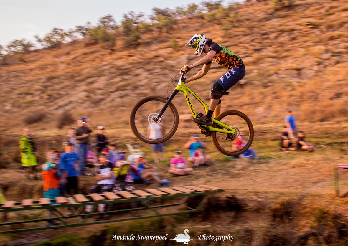 Frank Meyer winning stop 2 of the Dustin Rudman Invitational Downhill MTB race