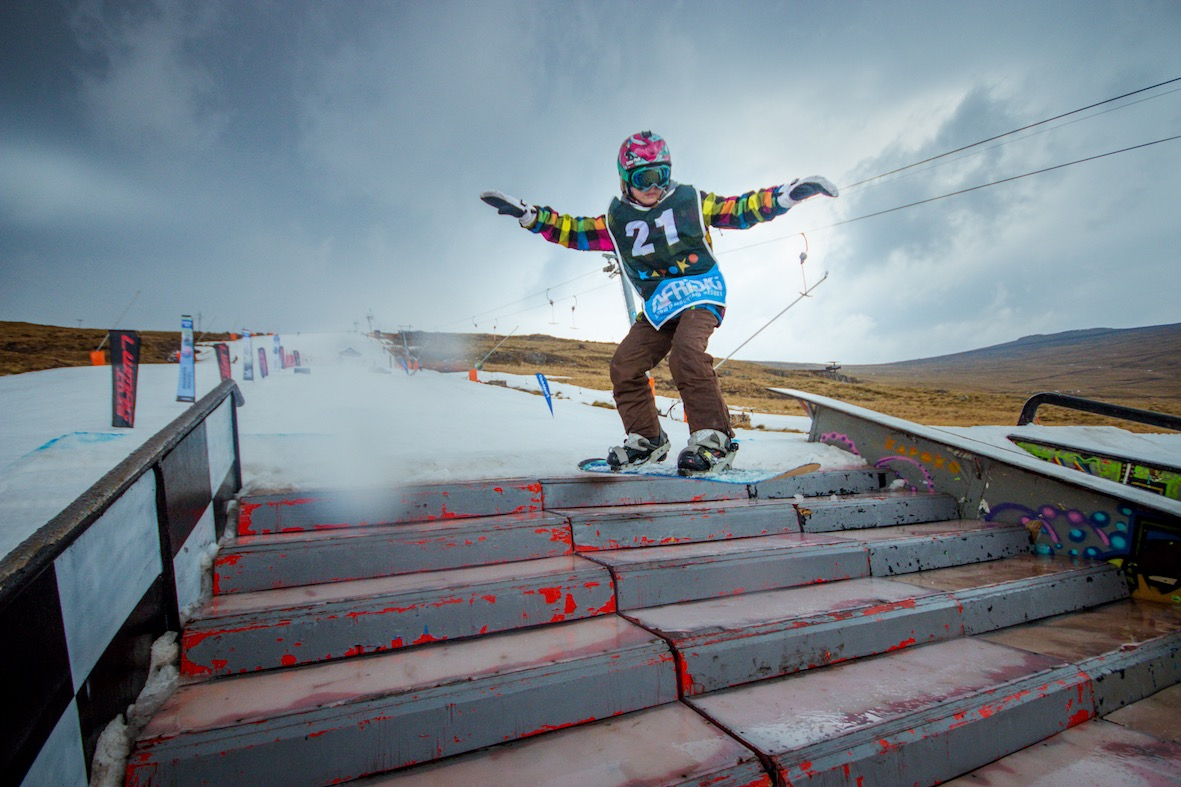 Kyle Bendae hitting the stairs section of the course at Ultimate Ears Winter Whip