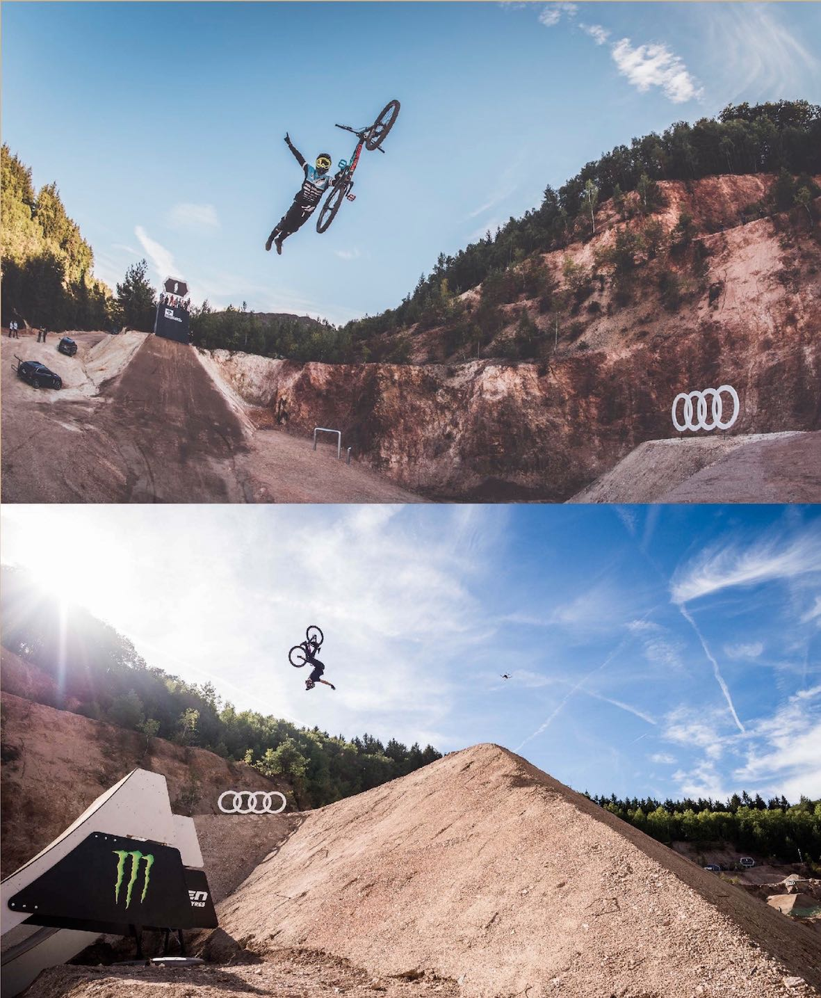 Massive Slopestyle MTB and Freeride MTB trick performed at the Audi Nines 2018