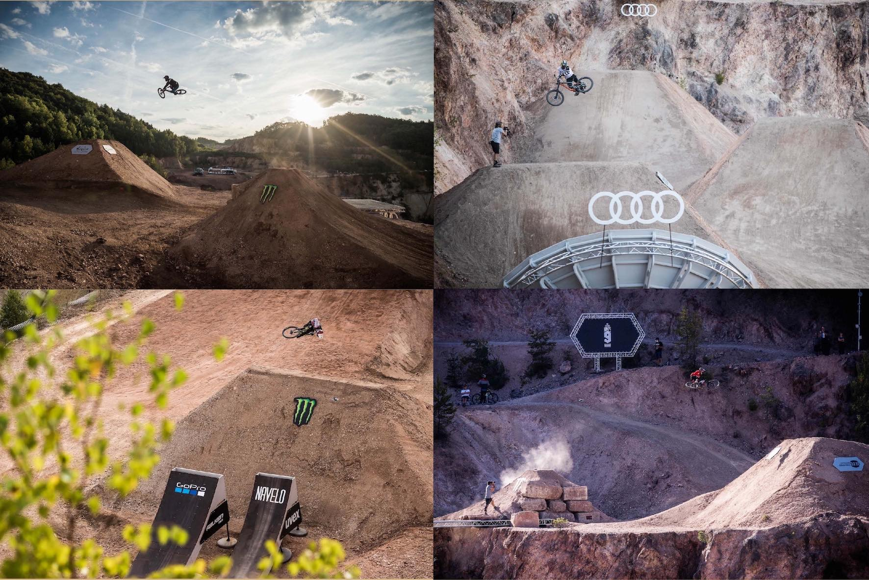 Massive Slopestyle Mountain Bike and Freeride Mountain Bike trick performed at the Audi Nines 2018