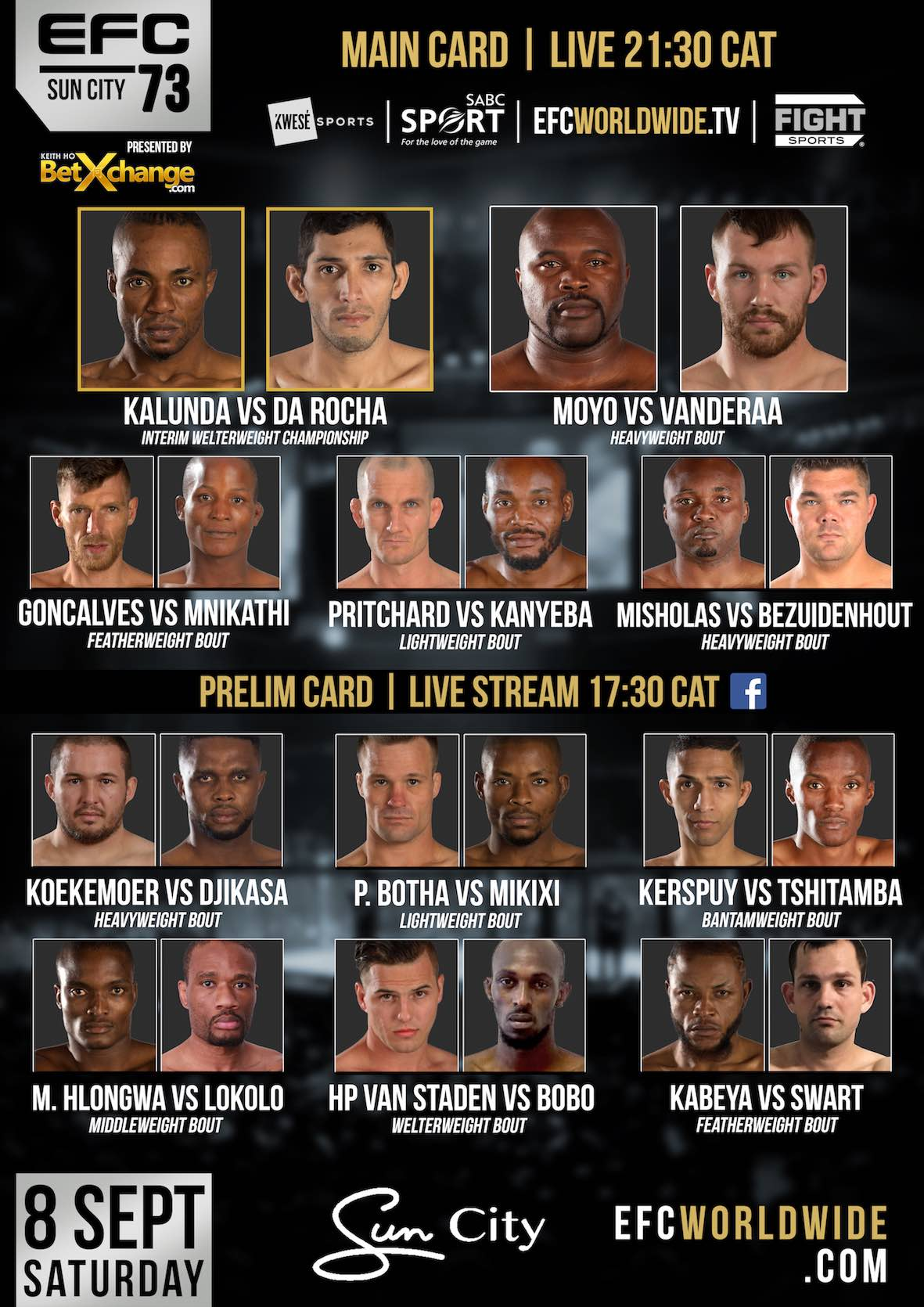 EFC 73 bringing 11 exciting Mixed Martial Arts fight to Sun City in September 2018