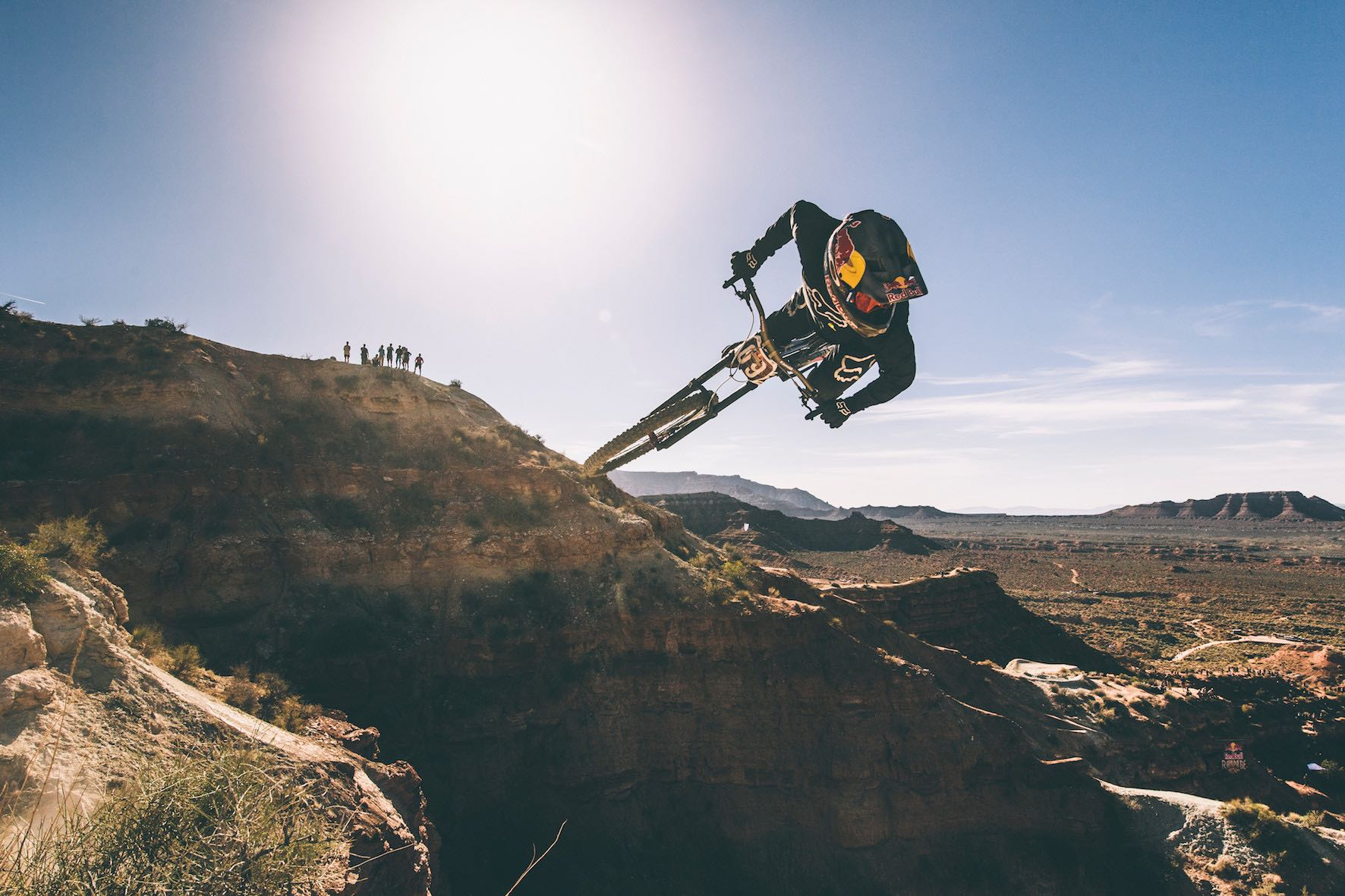 Andreu Lacondeguy finishing in 2nd at the Red Bull Rampage Freeride MTB event