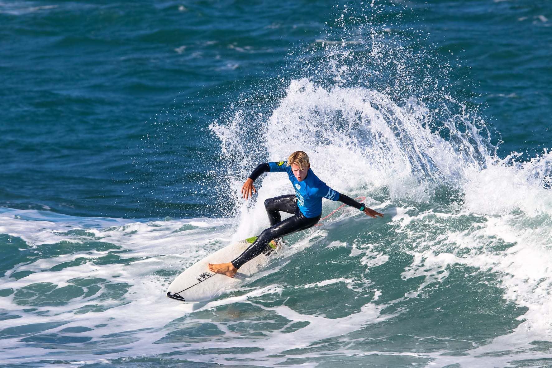 Luke Thompson surfing in the 2018 Billabong Junior Series finale