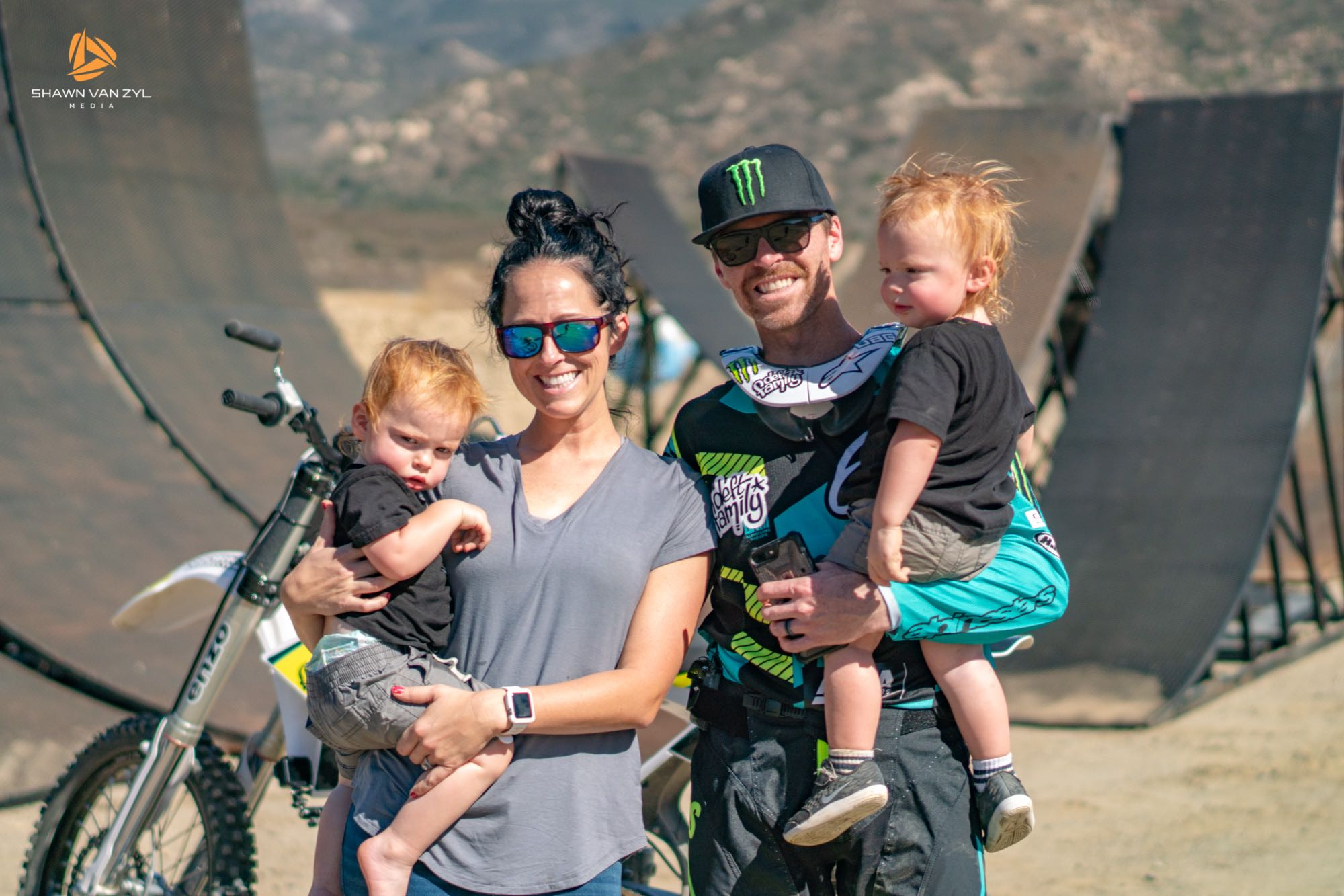 FMX rider, Nate Adams with his family in California