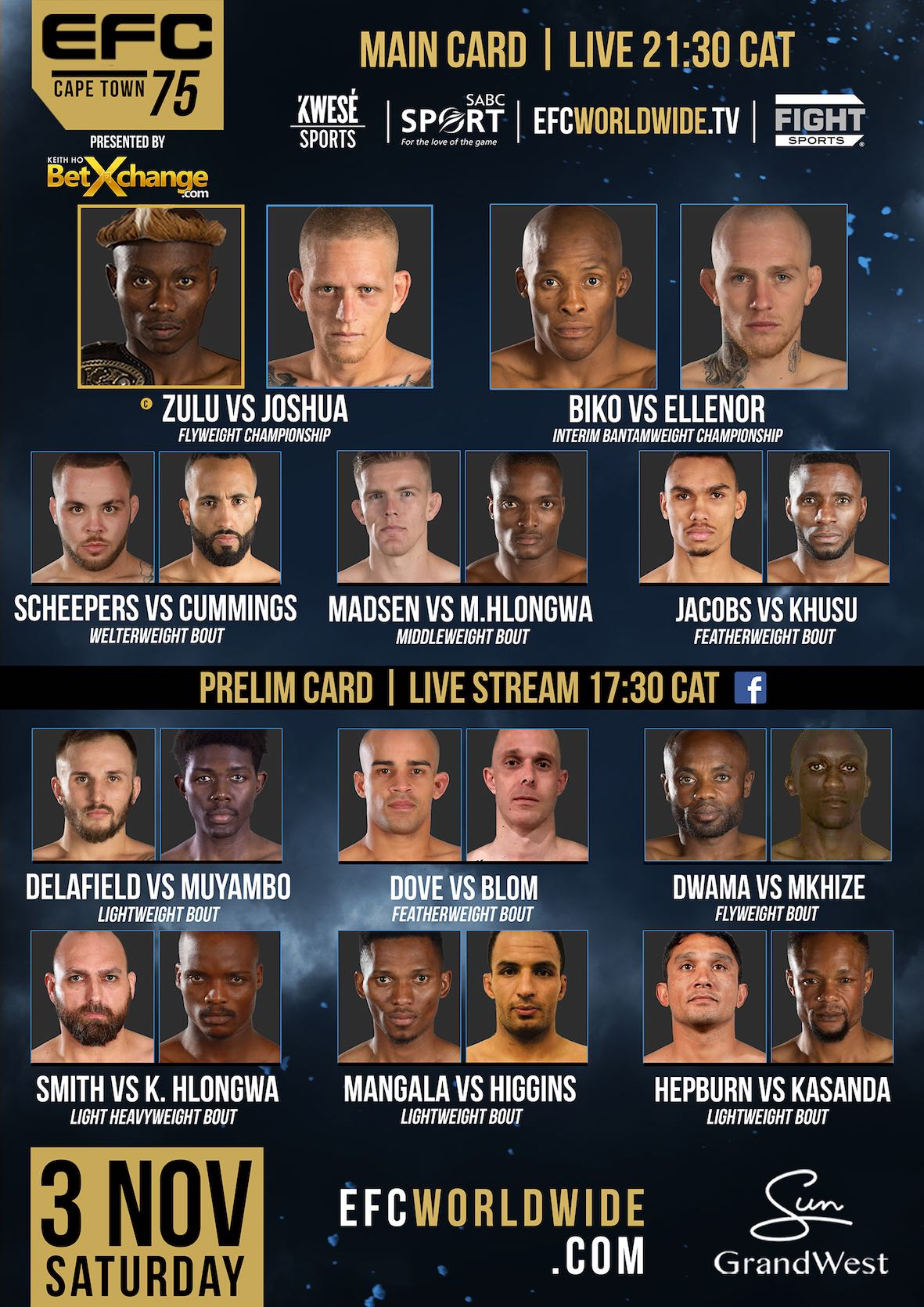 EFC 75 will bring 11 exciting Mixed Martial Arts fight to the city of Cape Town