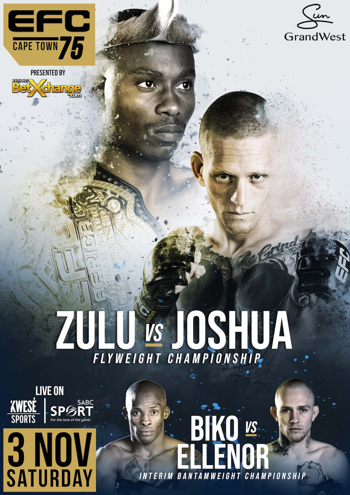 EFC 75 will bring 11 exciting MMA fight to the city of Cape Town