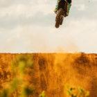Caleb Tennant celebrating victory in the MX2 motocross championship