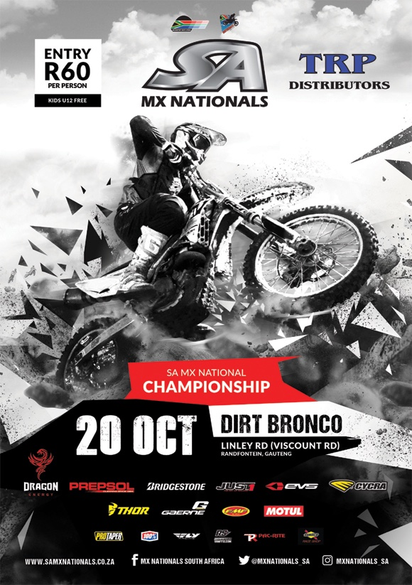 Details for the final round of the 2018 TRP Distributors SA Motocross National Championship, taking place at the hard pack Dirt Bronco in Joburg.