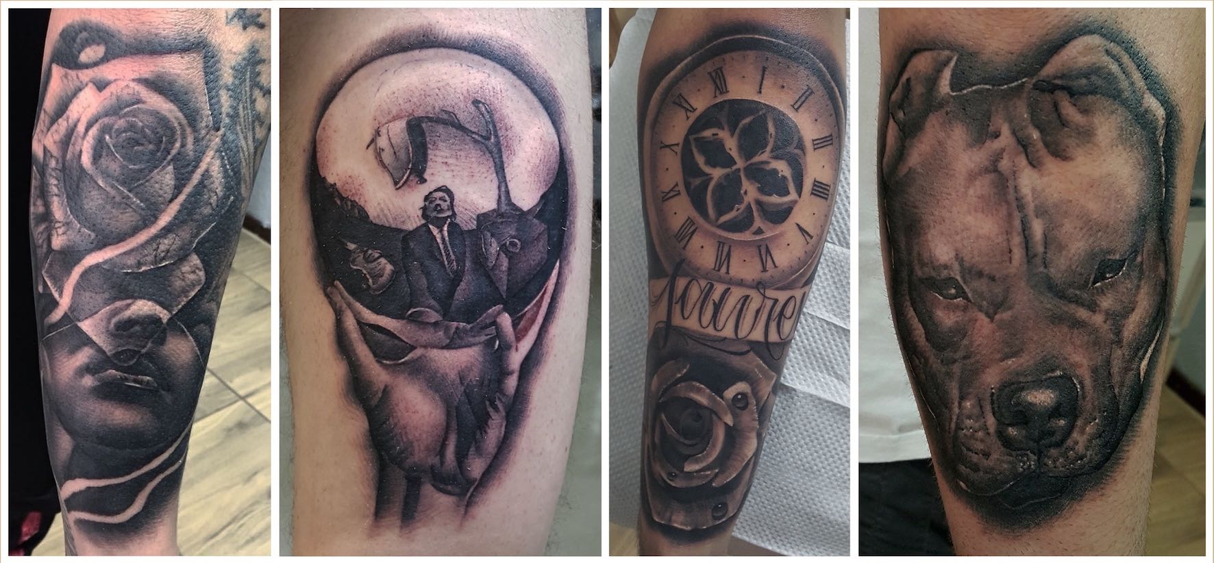A selection of black and grey tattoos done by Kyle Beyers