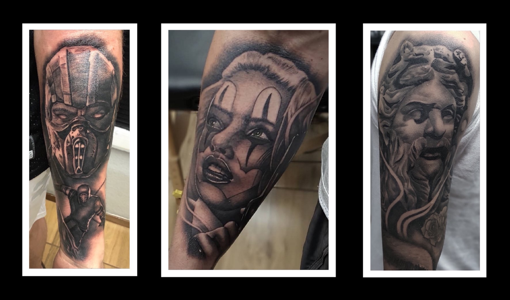Black and grey realism tattoos down by Kyle Beyers