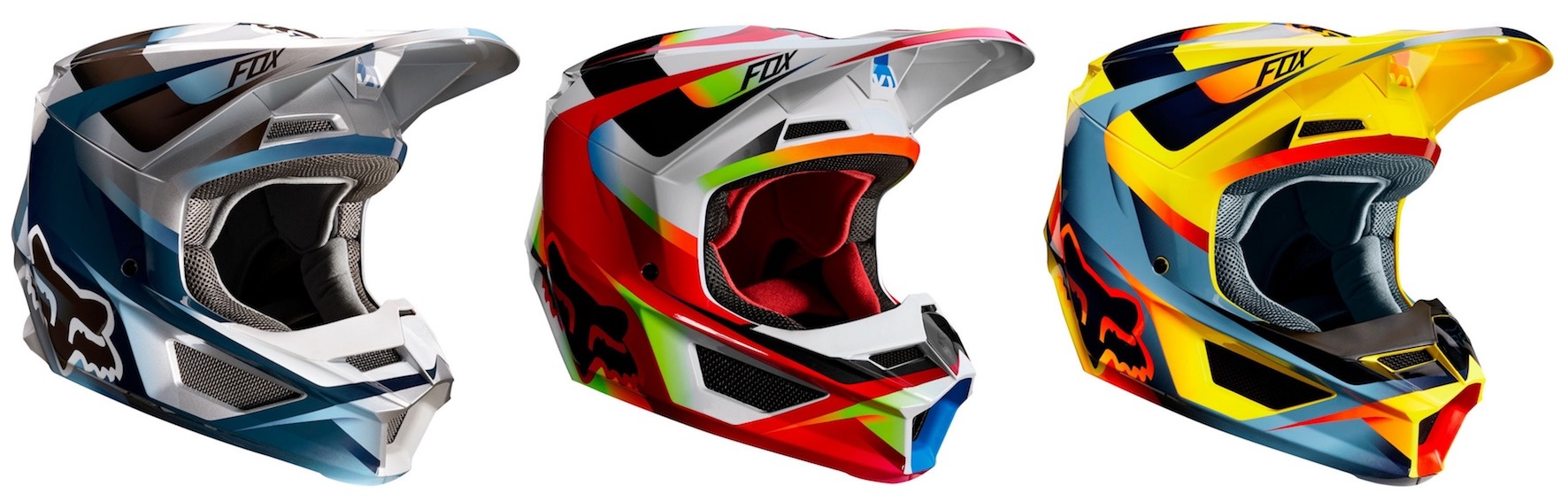 The Fox V1 Motif helmet available in the above color-ways