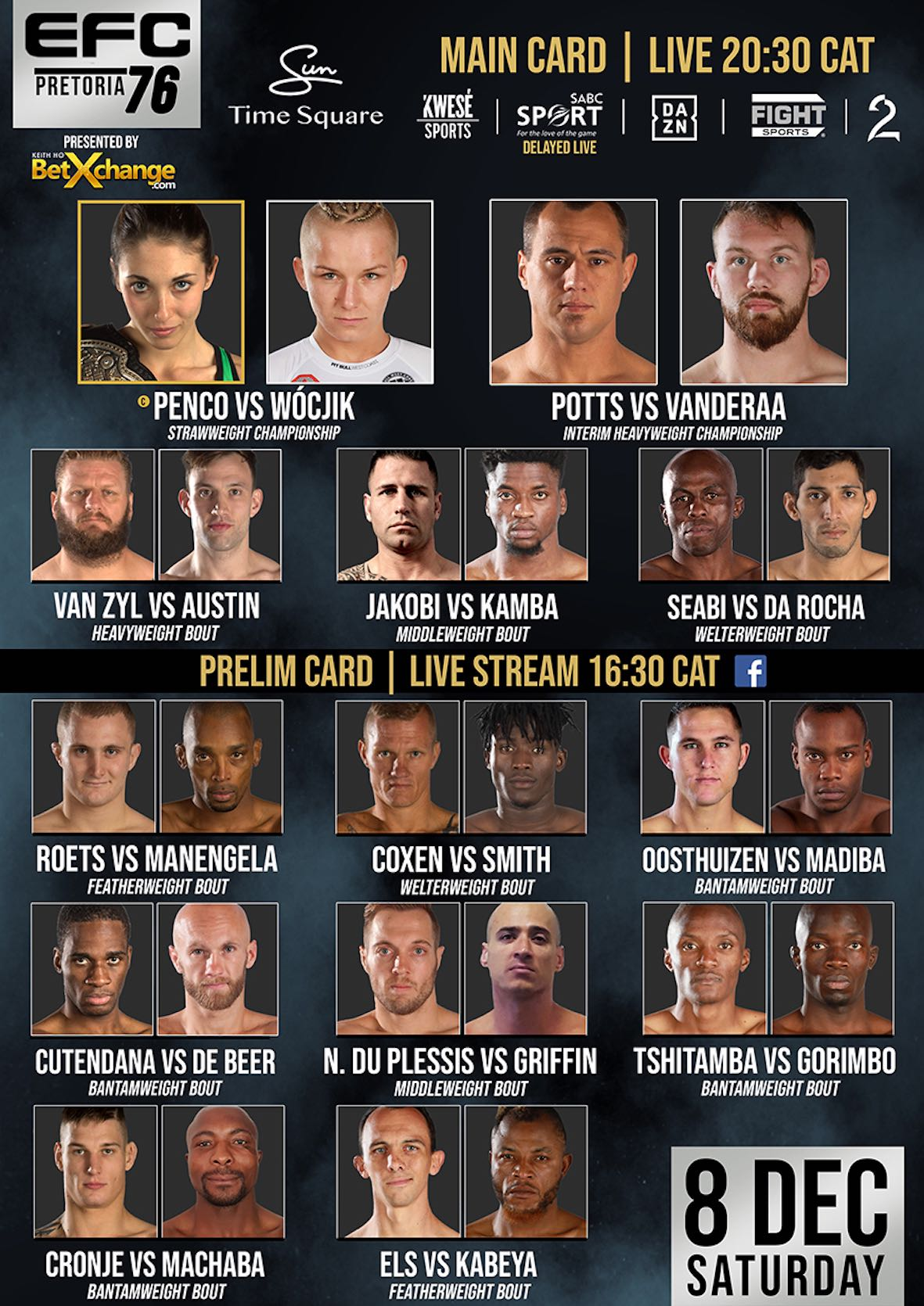 EFC 76 bringing 13 exciting Mixed Martial Arts fight to Time Square in Menlyn Maine, Pretoria.