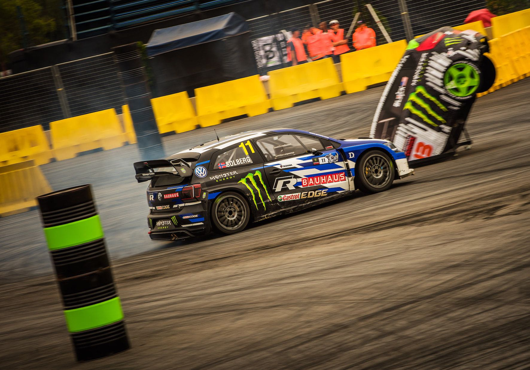Petter Solberg finishing in 2nd place in the AWD class at Gymkhana GRiD 2018