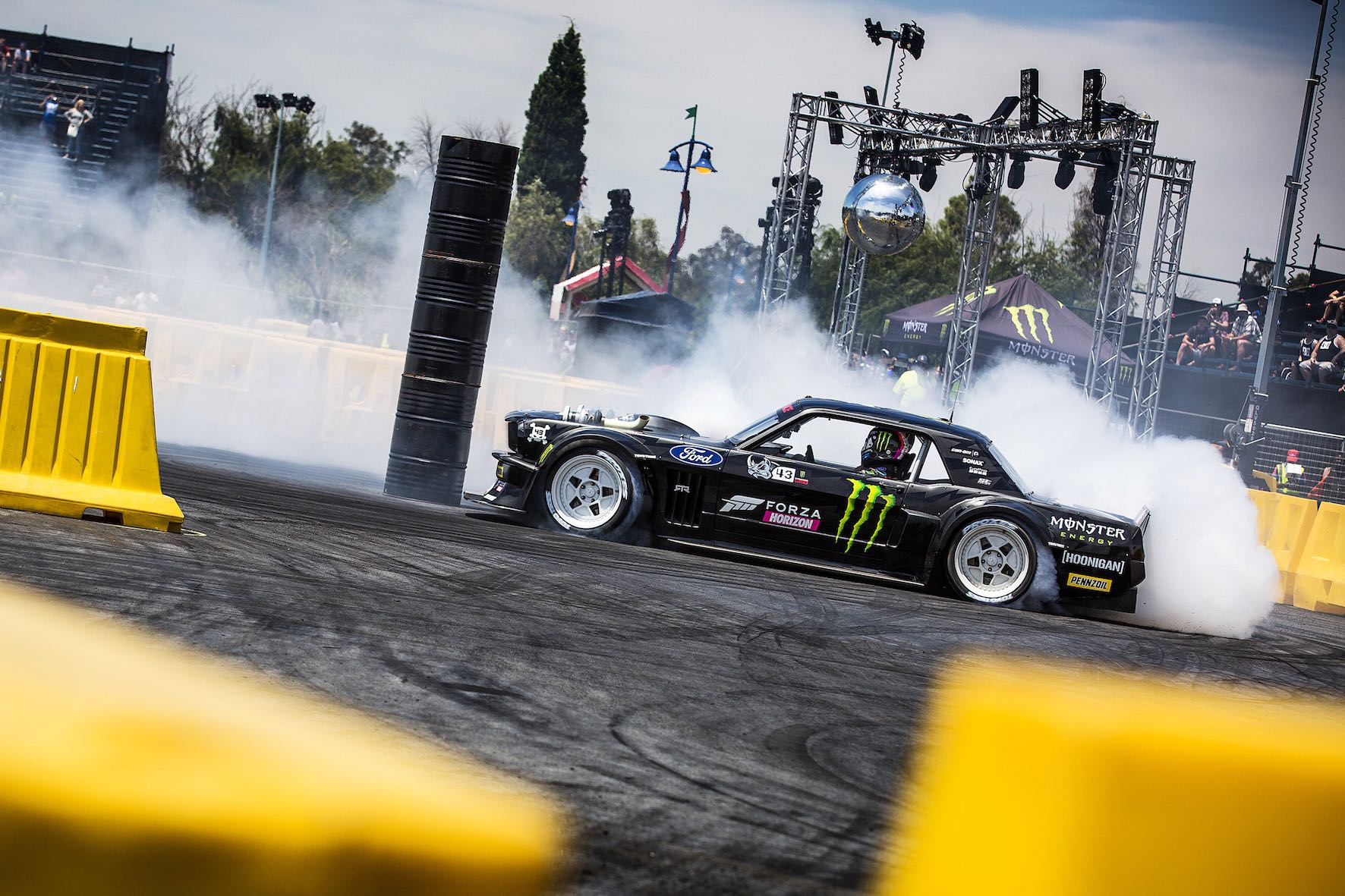 Ken Block winning the Smoke and Style competition at Gymkhana GRiD 2018