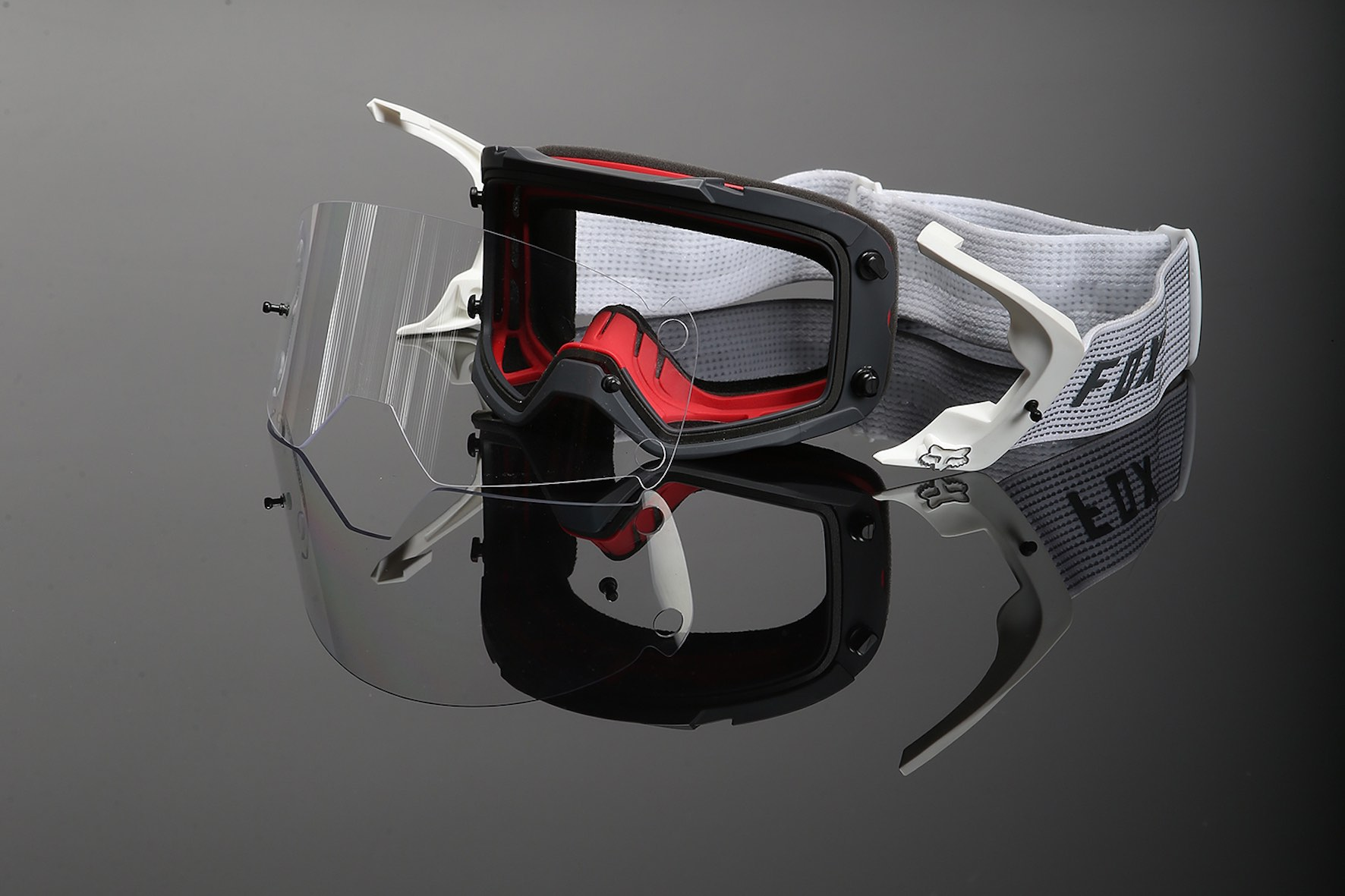 A view of the Fox Vue Goggle TruLock system