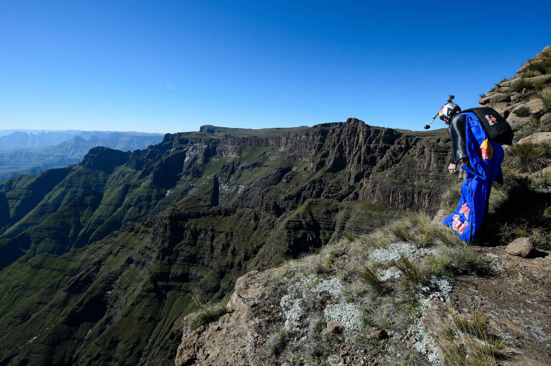 Barrier of spears flying wingsuits through the Drakensburg