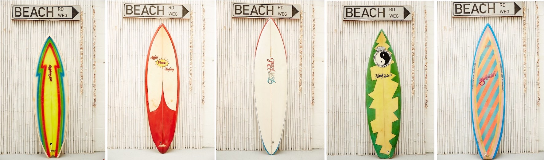 Retro surfboards that will used at the 2018 Rolling Retro surfing event