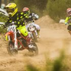 Ethan Williamson leading the 50cc motocross class