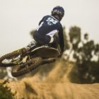 Nick Adams racing to victory in the MX2 class at the motocross nationals