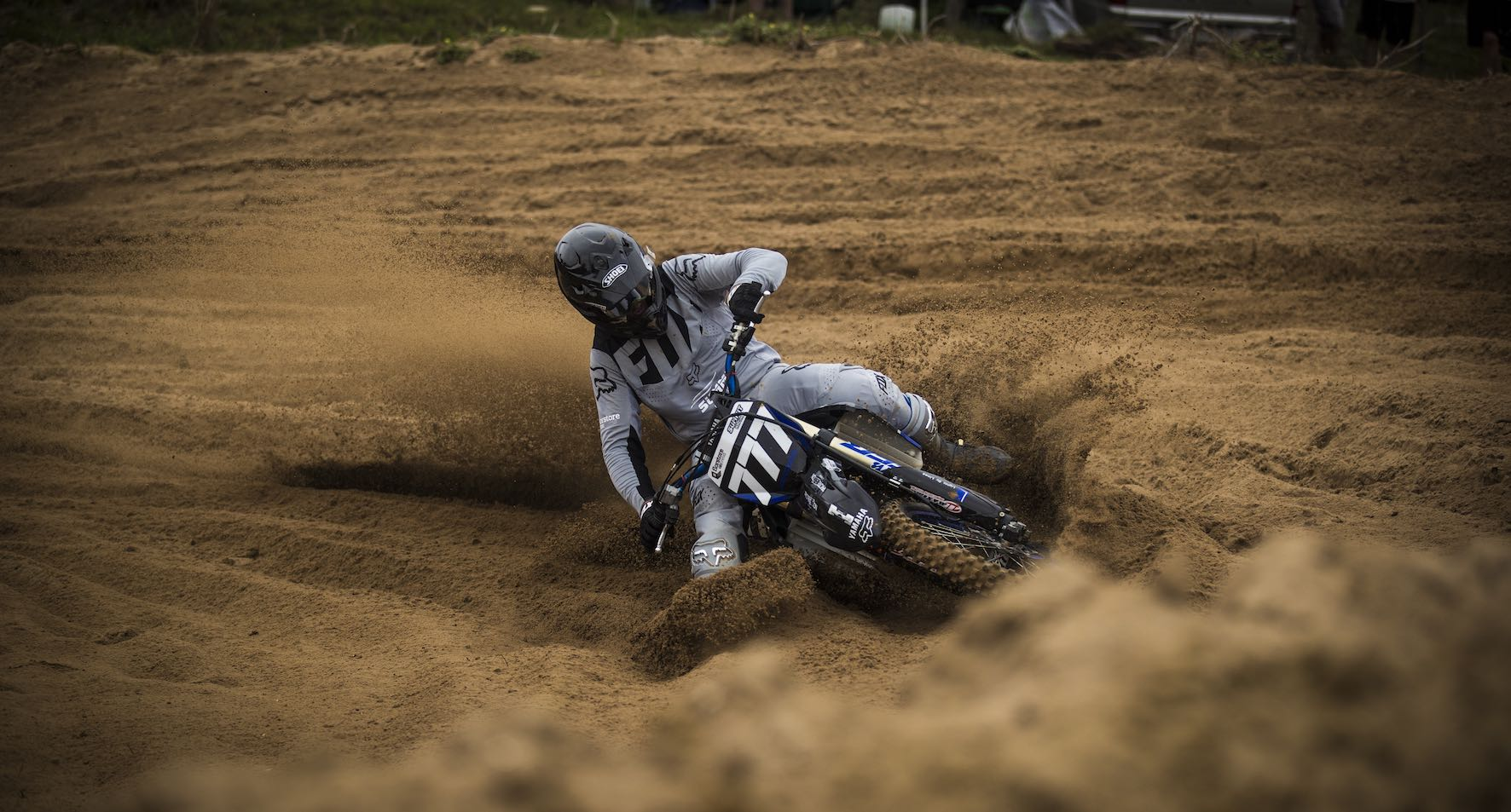 Lloyd Vercueil racing to victory in the MX1 category
