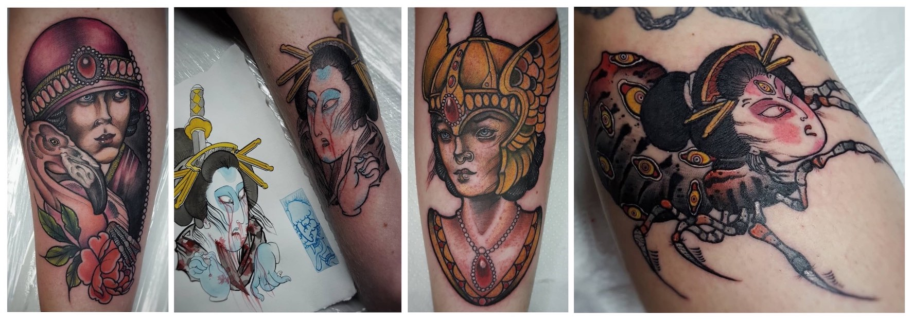 New Traditional tattoos done by Daniel Forster