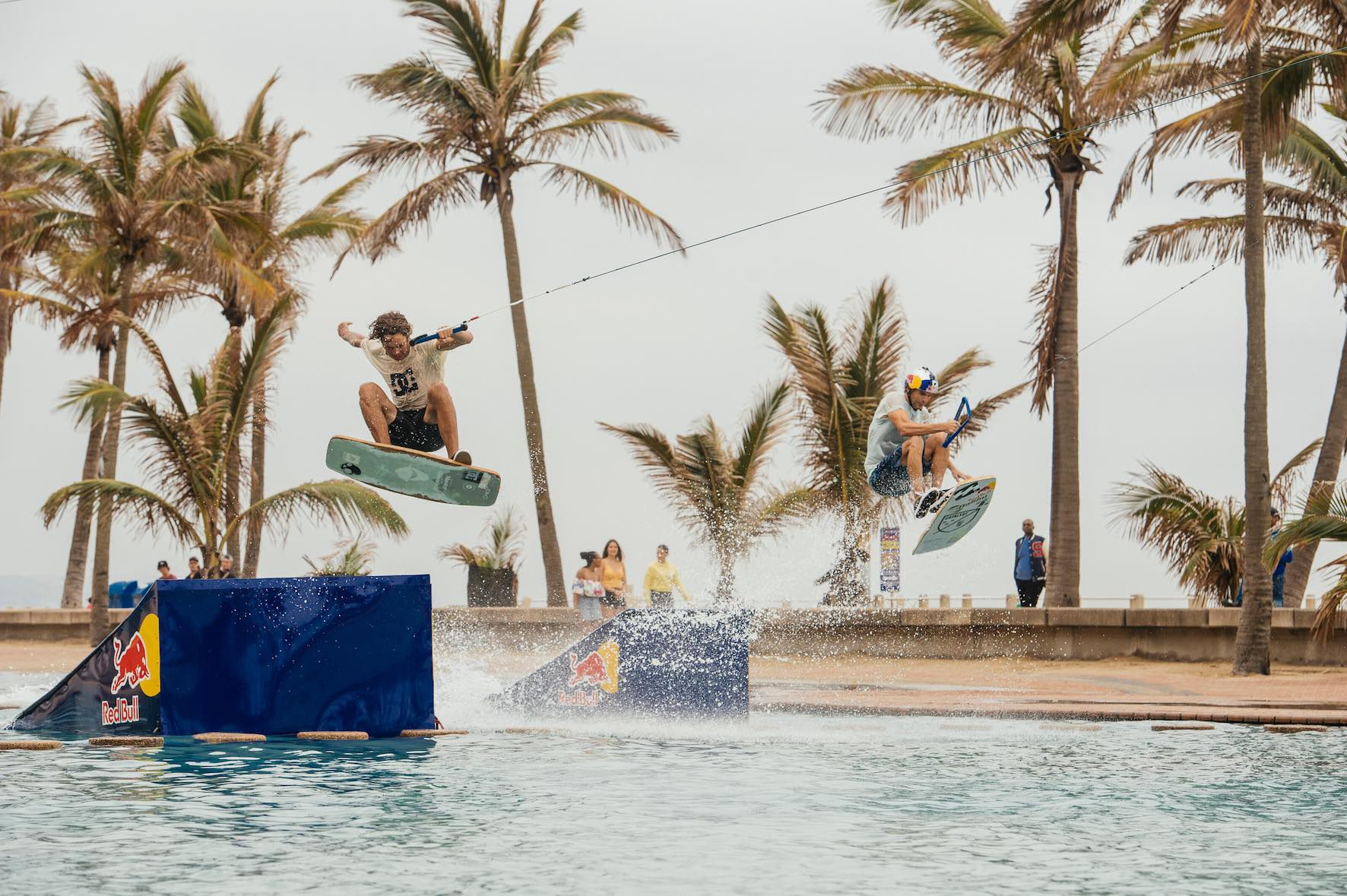 Brian Grubb and Matti Buys wakeskating Durban beachfront for the Red Bull Reflections project