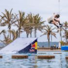 Matti Buys wakeskating through the Durban beachfront pools