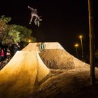 Murray Loubser performing the Cannon Ball to Bar trick in the Night Harvest BMX Best Trick