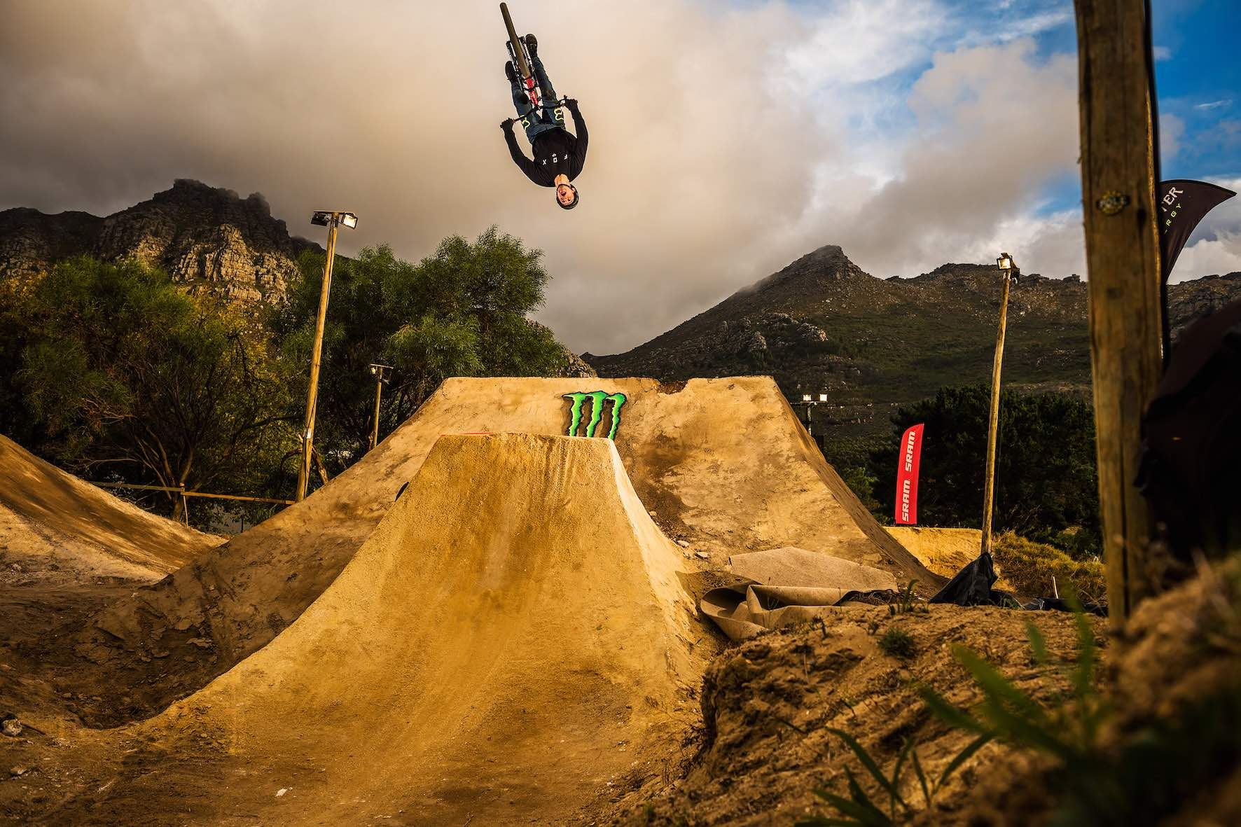 Theo Erlangsen riding in the 2019 The Night Harvest MTB dirt jump contest