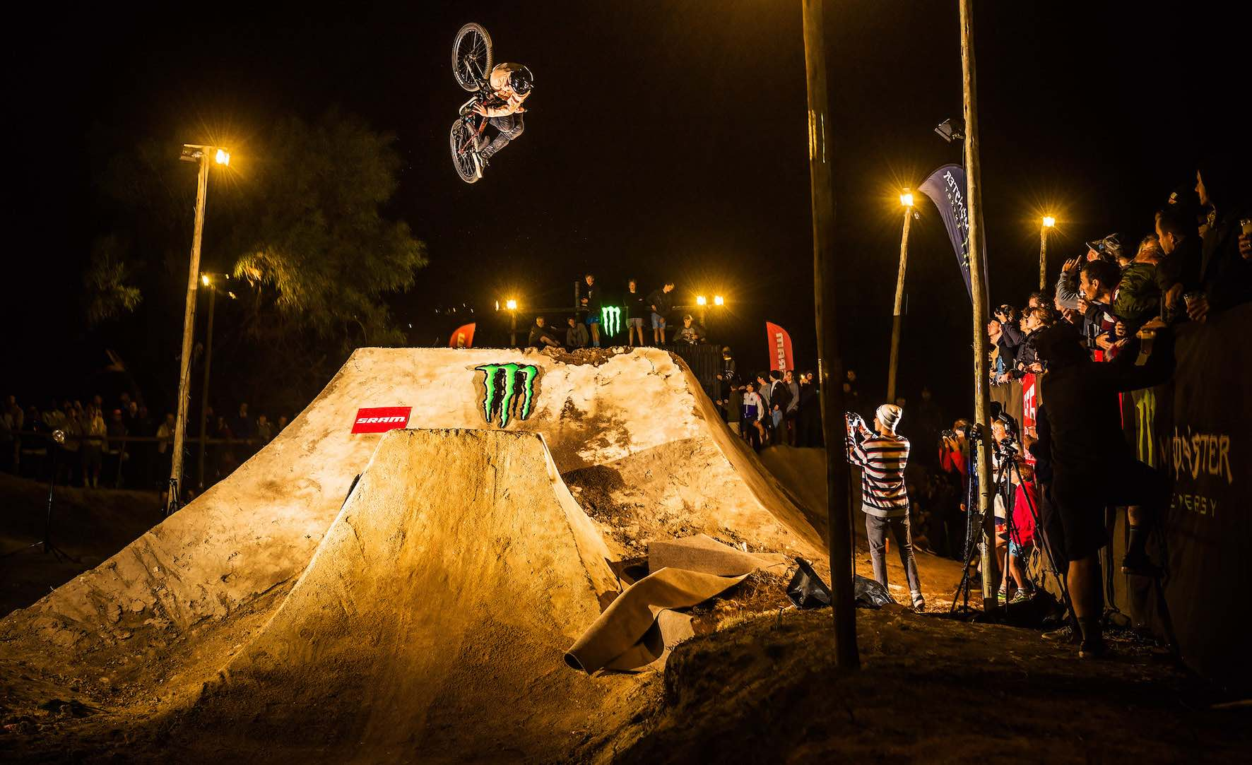 Lukas Skiold taking 1st place in The Night Harvest 2019 MTB dirt jump contest
