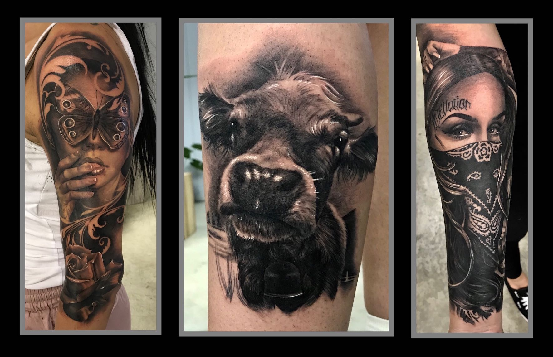 A taste of the black and grey realism tattoos created by Lileen van den Berg